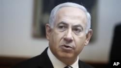"""Perdana Menteri Israel Benjamin Netanyahu mengatakan """"langkah sepihak oleh Palestina di PBB melanggar perjanjian damai,"""" dan oleh karenanya Israel menolak pemungutan suara PBB tersebut (foro, 2/12/2012)."""