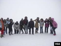 Frozen lake in North Dakota