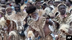 Members of the Shembe Church wearing leopard skins during their dance celebrations at eBuhleni, near Durban, South Africa, Jan 29, 2017.