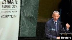 Presiden AS Barack Obama saat berbicara dalam KTT Iklim di New York, Selasa (23/9).