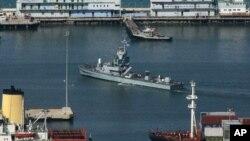 FILE - An Israeli naval boat arrives at the Haifa port, northern Israel.
