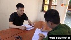 Triệu Tiến Mạnh bị công an Cao Bằng bắt giam ngày 4/10/2020. Photo Cao Bằng TV