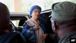 FILE - Liberia's President Ellen Johnson Sirleaf arrives at the Capitol to address lawmakers in Monrovia, Liberia, Sept. 29, 2014.