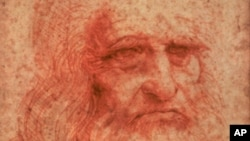 FILE - An undated handout photo of a self-portrait of Leonardo da Vinci (circa 1516) drawn in red chalk.
