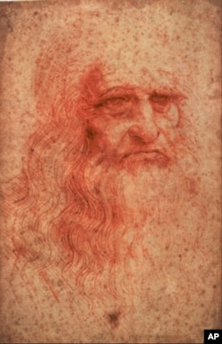 An undated handout photo of a self-portrait of Leonardo da Vinci (circa 1516) drawn in red chalk.