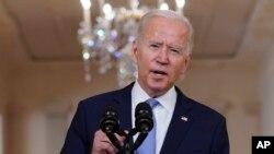 Prezidan Etazuni Joe Biden pale sou fen lage Afghanistan an depi Sal a Manje Ofisyel Mezon Blanch la, 31 Out, 2021.