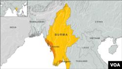 버마에서 최근 불교와 이슬람교도간의 충돌로 폭력사태가 발생한 라킨주(주황색 표시 지역).