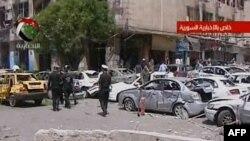 تصویر گرفته شده از تلویزیون دولتی سوریه از صحنه انفجار روز سه شنبه