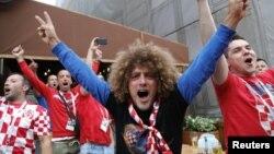 Cổ động viên đội tuyển Croatia trước trận đấu bán kết giữa đội tuyển của họ với Anh ở Moscow ngày 11/7.