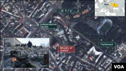 Khu vực bộ Tư pháp ở Kyiv bị chiếm đóng từ cuối ngày Chủ nhật.