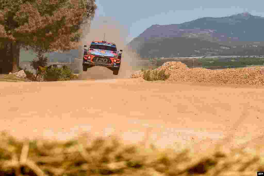 Norwegian driver Andreas Mikkelsen steers his Hyundai Shell Mobis WRT with Norwegian co-driver Anders Jaeger, during the Shakedown stage of the Rally of Sardinia near Olmedo, Italy.