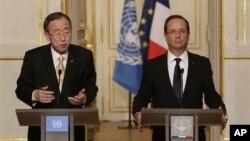 9일 파리에서 공동 기자회견을 가진 반기문 유엔 사무총장(왼쪽)과 프랑수아 올랑드 프랑스 대통령.