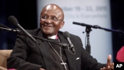 In this photo released by the United Nations Foundation, Archbishop Desmond Tutu speaks at the Social Good Summit, Wednesday, Sept. 21, 2011 in New York.