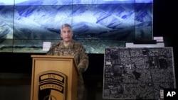 존 캠벨 아프가니스탄 주둔 미군 사령관이 25일 아프가니스탄 카불에서 기자회견을 하고 있다.