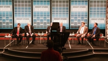 Panelists on 'In The Public Eye' forum at the Newseum, in Washington D.C, June 17, 2015.
