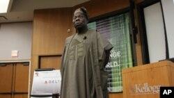 L'ancien président nigérian Olusegun Obasanjo, lors d'une conférence en 2012.