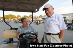 Don Greiman, right, has attended the Iowa State Fair since he was a boy. He is 89 years old.