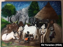Santo, who is a gifted painter, studied fine arts at Sudan University before north and south separated in 2011. This picture of village life in south Sudan is one of his favorites.