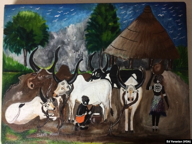 Santo, who is a gifted painter, studied fine arts at the University of Khartoum before north and south separated in 2011. This picture of village life in south Sudan is one of his favorites.