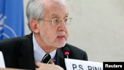FILE - Independent investigator on war crimes in Syria Paulo Pinheiro addresses U.N. Human Rights Council in Geneva, March 17, 2015.