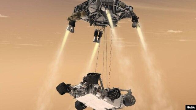 This artist's concept shows the sky crane maneuver during the descent of NASA's Curiosity rover to the Martian surface. (NASA/JPL-Caltech)