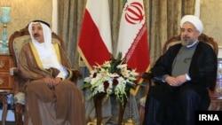 دیدار حسن روحانی رئیس جمهوری ایران (راست) و شیخ صباح امیر کویت در تهران - ۱۱ خرداد ۱۳۹۳