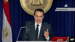 Egyptian President Hosni Mubarak makes a televised statement to his nation in this image taken from TV that aired February 10, 2011
