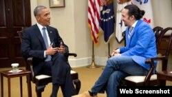 دیدار «لین مانوئل میراندا» با رئیس جمهوری آمریکا، تصویری از فیلم «آمریکای همیلتن» از شبکه «پی بی اس»