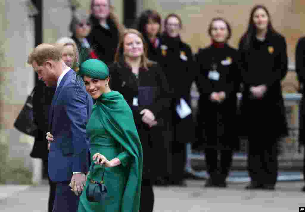 Britain's Prince Harry and Meghan, Duchess of Sussex, arrive to attend the annual Commonwealth Day service at Westminster Abbey in London.
