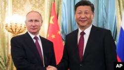 中國領導人習近平7月4日訪問俄羅斯與俄羅斯總統普京在克里姆林宮舉行會晤