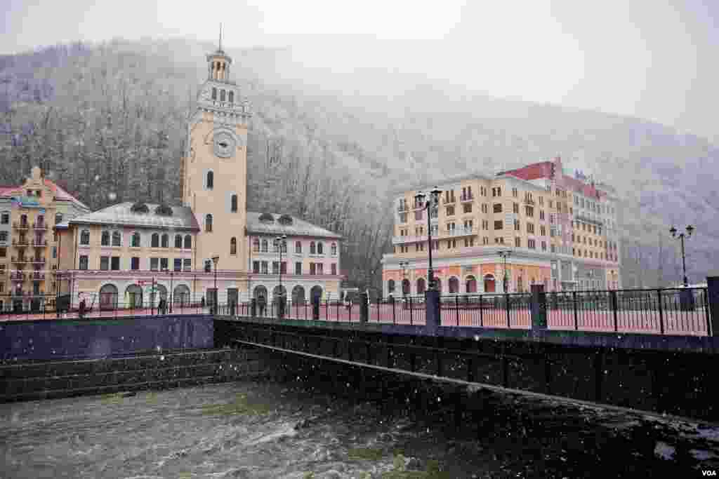 "At the base of the brand new Rosa Khutor ski area, a faux Alpine village has been built in the last 1,000 days, complete with a German-style ""Rathaus"" or town hall. (V. Undritz for VOA)"