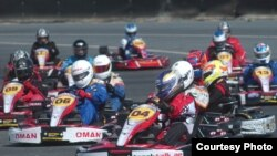 Fabienne Lanz, in kart number 04, leads a race in Oman recently. (Courtesy: Fabienne Lanz's collection)