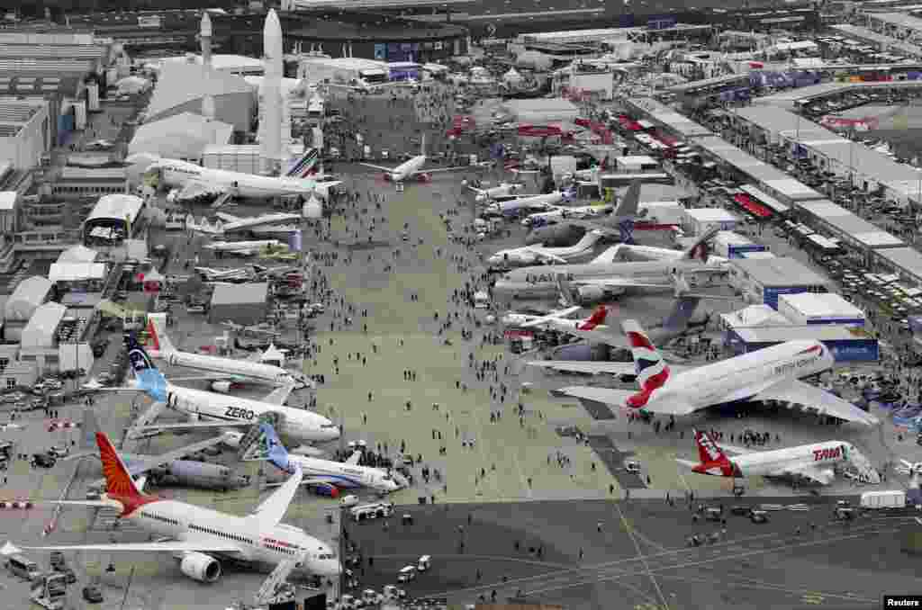 An aerial view of the 50th Paris Air Show, at the Le Bourget airport near Paris, France.