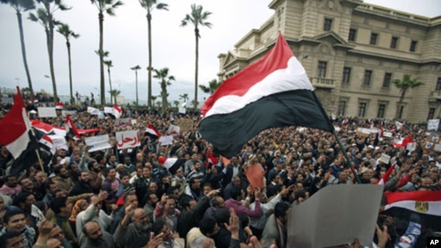 Protesters chant anti-government slogans during mass demonstrations against Egypt's President Hosni Mubarak, in Alexandria, Egypt, February 4, 2011