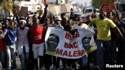 Wafuasi wa kiongozi wa zamani wa tawi la vijana wa ANC Malema wakielekea mahakamani Polokwane