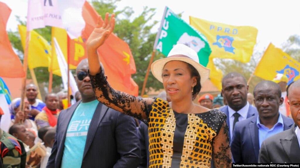 Jeanine Mabunda, ancienne présidente de l'Assemblée nationale de la RDC, à Beni, au Nord-Kivu, RDC, le 18 février 2020. (Twitter/Assemblée nationale de la RDC)