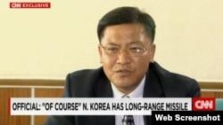 북한의 정부기구인 조국통일연구원의 박영철 부원장이 평양에서 미국 CNN 방송과 인터뷰했다.