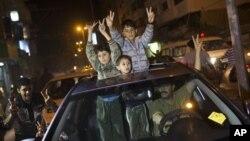 Παλαιστινιακοί πανηγυρισμοί για την εκεχειρία