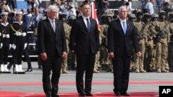 Вице-президент США Майк Пенс, президент Польши Анджей Дуда и президент Германии Франк-Вальтер Штайнмайер. Варшава, 1 сентября 2019 г.