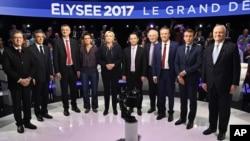 參加法國總統競選的候選人在BFM的電視辯論節目中(2017年4月4日)