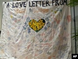 A quilt presented as a gift to Emanuel AME Church after nine people were shot and killed during a June Bible study is seen at the College of Charleston in Charleston, South Carolina, Nov. 11, 2015.