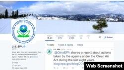 Página de Twitter de la Agencia de Protección Ambiental.