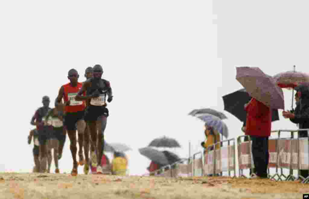 Geoffrey Kipsang of Kenya (front) competes ahead of Albert Rop of Kenya (front C) and Moses Kipsiro of Uganda during the Italica cross-country race in Santiponce, near Seville in southern Spain January 15, 2012.