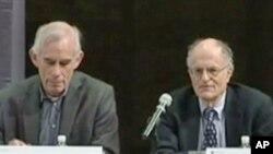 诺贝尔经济学得主西姆斯和萨金特举行记者会