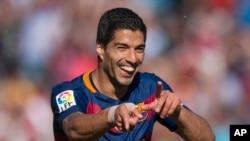 Luis Alberto Suarez célèbre un but marqué dans la Liga (14 mai 2016)