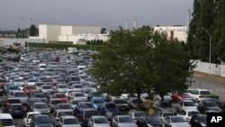 The entrance of the PSA Peugeot Citroen La Janais factory near Rennes, western France, July 12, 2012.