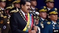 El presidente venezolano, Nicolás Maduro, pronuncia un discurso durante una ceremonia para celebrar el aniversario No. 81 de la Guardia Nacional en Caracas. Foto de archivo del 4 de agosto de 2018.