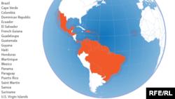 Помаранчевим кольором позначені країни з епідемією вірусу Зіка