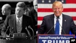 """""""나라가 당신을 위해 무엇을 할 수 있을지 묻기 전에, 당신이 국가를 위해 무얼 할 수 있는지 자문하라""""는 명언을 남긴 존 F. 케네디(왼쪽) 전 미국 대통령의 취임연설 장면과 도널드 트럼프 차기 대통령의 대선 유세당시 연설 현장."""