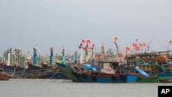 Fishing boats take shelter in Danang city, Vietnam, Nov. 10, 2013.